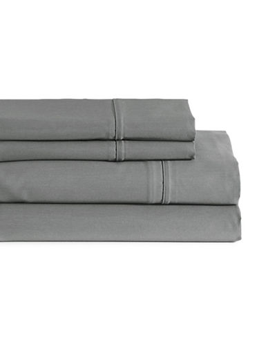 Glucksteinhome Four-Piece Davenport Egyptian Cotton Sheet Set-CHARCOAL-Queen