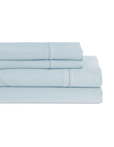 Glucksteinhome Four-Piece Davenport Egyptian Cotton Sheet Set-LIGHT BLUE-Queen