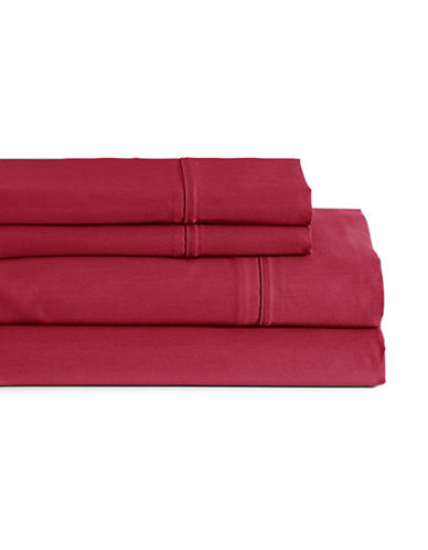 Glucksteinhome Four-Piece Davenport Egyptian Cotton Sheet Set-RED-King