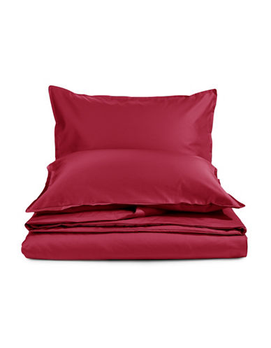Glucksteinhome Three-Piece Davenport 700 Thread Count Egyptian cotton Duvet Cover Set-RED-Queen