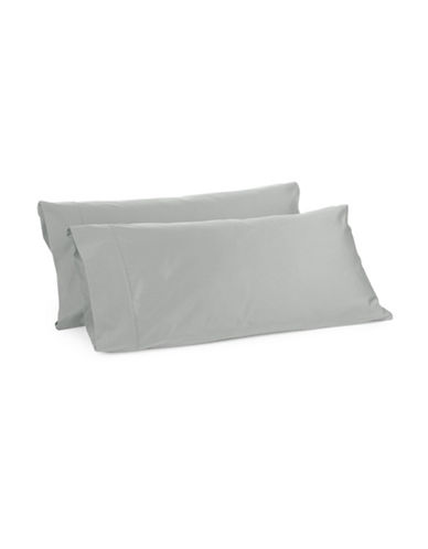 Glucksteinhome Davenport 700 Thread-Count Set of Two Egyptian Cotton Pillowcases-LIGHT GREY-Standard