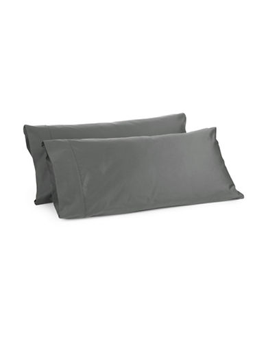 Glucksteinhome Davenport 700 Thread-Count Set of Two Egyptian Cotton Pillowcases-CHARCOAL-King