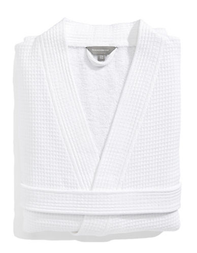 Glucksteinhome Spa Style Waffle Terry Robe-WHITE-Large/X-Large