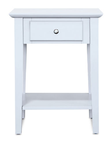 Home Studio Side Table with Drawer-WHITE-One Size
