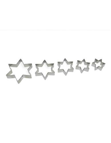 Essential Needs Five-Piece Star Cookie Cutter Set-SILVER-5pc