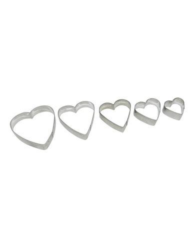 Essential Needs Five Piece Heart Cookie Cutter Set-SILVER-5pc