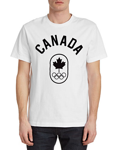 Canadian Olympic Team Collection Mens Flocked Canada T-Shirt-WHITE-Large 87811970_WHITE_Large