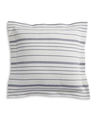 Glucksteinhome Waffle Stripe Throw Pillow-GREY-18x18