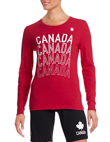 Canadian Olympic Team Collection Womens Long Sleeve Multi Canada T-Shirt-RED-Medium 87837526_RED_Medium