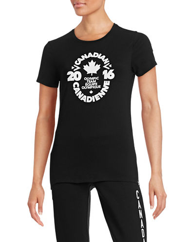 Canadian Olympic Team Collection Womens Village Team Crest T-Shirt-BLACK-Large