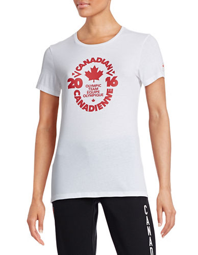 Canadian Olympic Team Collection Womens Village Team Crest T-Shirt-WHITE-Large