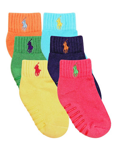 Ralph Lauren Childrenswear 6-Pair Pack Athletic Quarter Socks with Grippers-ASSORTED-2-4