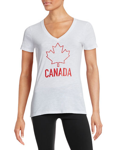 Canadian Olympic Team Collection Womens V-Neck Maple Leaf T-Shirt-WHITE-X-Small 87846149_WHITE_X-Small