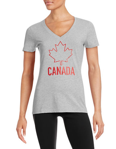 Canadian Olympic Team Collection Womens V-Neck Maple Leaf T-Shirt-GREY-Small 87846155_GREY_Small