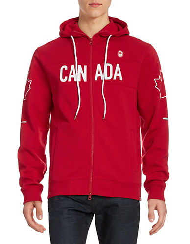 Canadian Olympic Team Collection Men's Village Fleece Hoodie-RED-Large 87861151_RED_Large