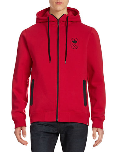 Canadian Olympic Team Collection Men's Full-Zip Maple Leaf Hoodie-RED-Medium 87861165_RED_Medium