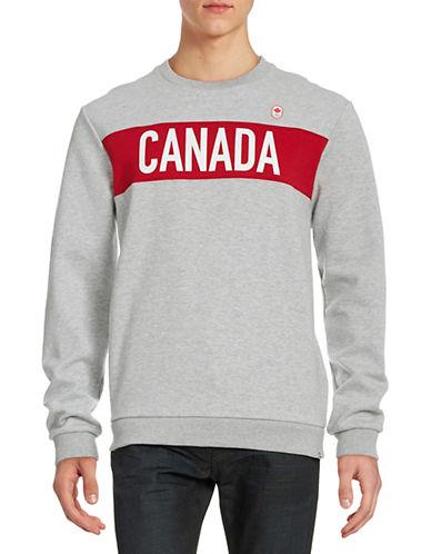 Canadian Olympic Team Collection Men's Colourblock Village Fleece Sweatshirt-GREY-X-Large 87861172_GREY_X-Large