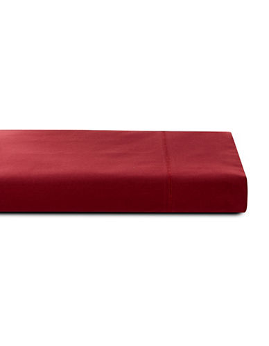 Glucksteinhome 600 Thread-Count Supima Cotton Flat Sheet-RED-Double