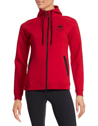Canadian Olympic Team Collection Women's Maple Leaf Hoodie-RED-Large 87865487_RED_Large