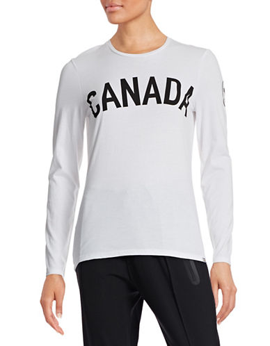 Canadian Olympic Team Collection Women's Maple Leaf Long Sleeve T-shirt-WHITE-X-Small 87865494_WHITE_X-Small