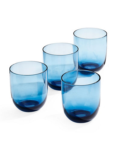 Distinctly Home Set of Four Double Old Fashioned Glasses-BLUE-One Size