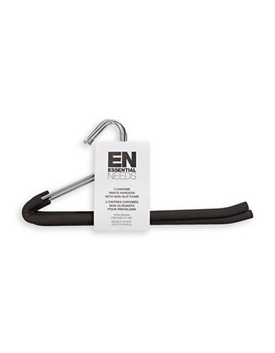 Essential Needs Set of Three Stainless Steel Pants Hangers-BLACK-One Size