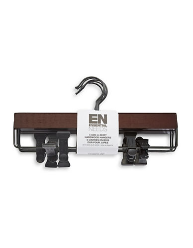 Essential Needs Five-Pack Add-A-Skirt Wood Hangers-ESPRESSO-One Size