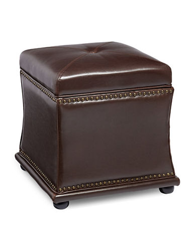 Home Studio Axis Bonded Leather Ottoman-BROWN-One Size