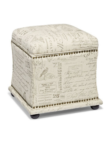 Home Studio Axis Printed Ottoman-BEIGE-One Size