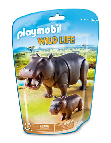 Playmobil Two-Piece Hippo and Calf Toy Set-MULTI-One Size
