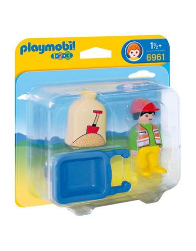 Playmobil 1.2.3 Worker with Wheelbarrow Play Set-MULTI-One Size