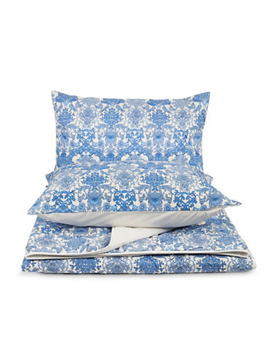 Home Studio Three-Piece Floral Damask Quilt Set-BLUE-King