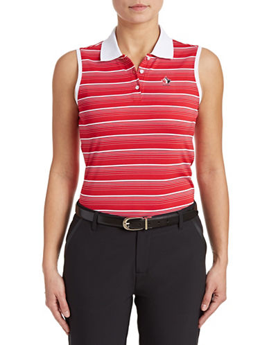 Golf Canada Womens Striped Sleeveless Polo-RED-Medium 87913778_RED_Medium