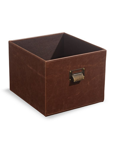 Home Studio Faux-Leather Milk Crate-BROWN-One Size