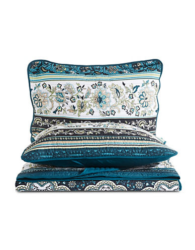 Home Studio Three-Piece Print Quilt Set-BLUE-Queen