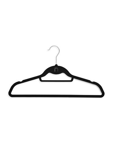 Essential Needs 50-Pack Slimline Flocked Velvet Hangers-BLACK-One Size