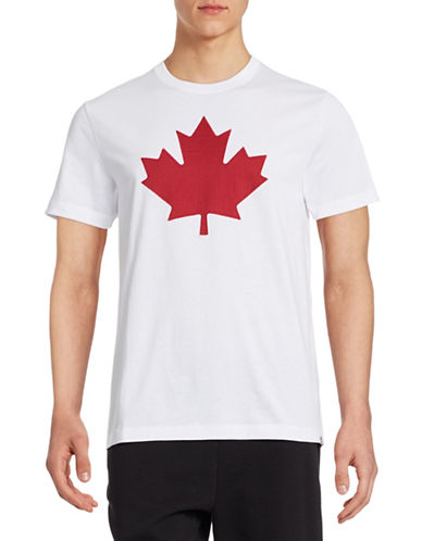 Canadian Olympic Team Collection Mens Twill Maple Leaf T-Shirt-WHITE-Large 87937809_WHITE_Large
