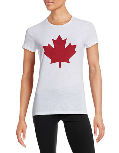 Canadian Olympic Team Collection Womens Twill Maple Leaf T-Shirt-WHITE-X-Small 87938728_WHITE_X-Small