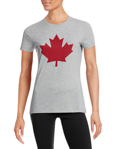 Canadian Olympic Team Collection Womens Twill Maple Leaf T-Shirt-GREY-Large 87938736_GREY_Large