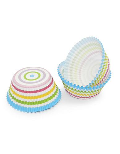Essential Needs Pack of 50 Rainbow Striped Large Baking Cups-MULTI-COLOURED-One Size