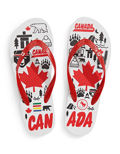 Canadian Paralympic Team Collection Mens Canadiana Flip Flop-WHITE-8