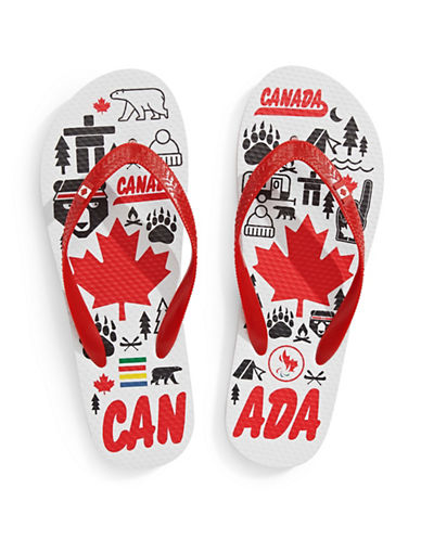Canadian Paralympic Team Collection Womens Canadiana Flip Flop-WHITE-6