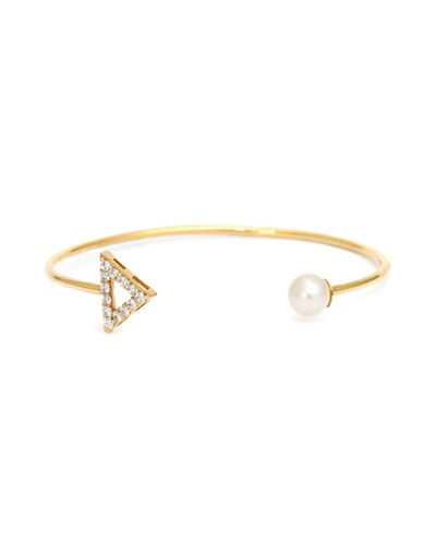 Mejuri Pearl and Arrow Detailed Bracelet-GOLD WHITE-One Size