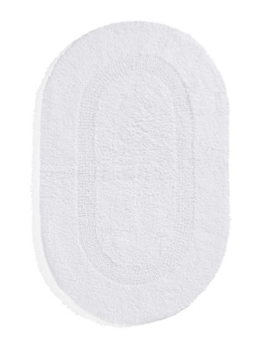 Glucksteinhome Reversible Oval Bath Mat-WHITE-One Size