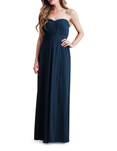 Paper Crown Natalie Belted Tent Gown-NAVY-XX-Small