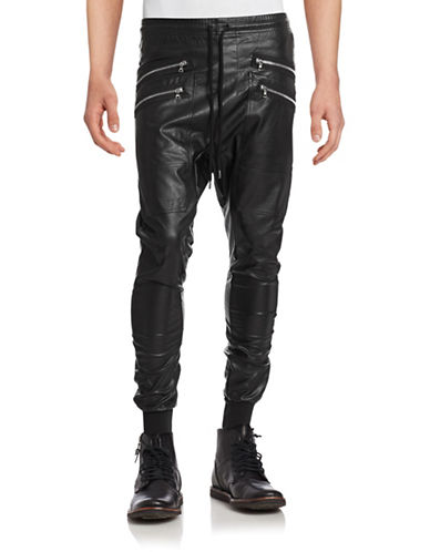 Markus Lupfer Faux Leather Zip Jogger Pants-BLACK-Large 88134359_BLACK_Large