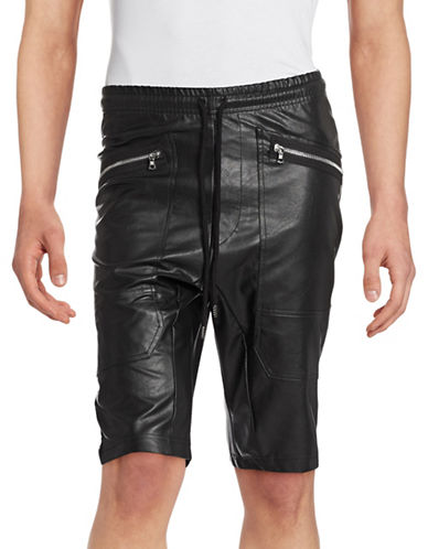 Markus Lupfer Faux Leather Jogger Shorts-BLACK-Small