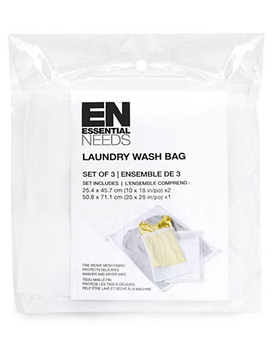 Essential Needs Three-Pack Laundry Wash Bags-WHITE-One Size