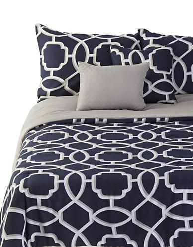 Home Studio Sebastian Five-Piece Comforter Set-NAVY/GREY-King