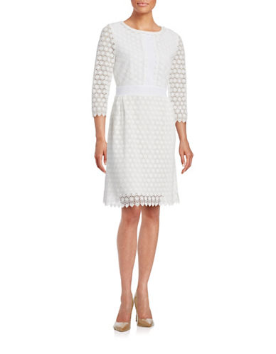Diane Von Furstenberg A-Line Crochet Lace Dress-WHITE-2